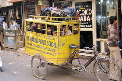 indian school bus, schoolchildren packed into rickshaw