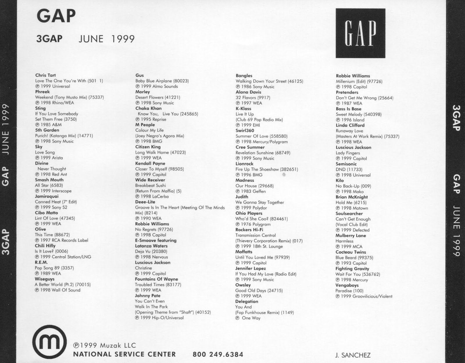 Gap 1999 In-Store Playlists | Gap In-Store Playlists 1992 to 2006