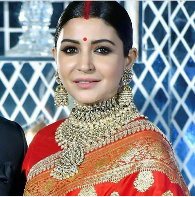 Anushka Sharma in Sabyasachi Sari for her Wedding Reception