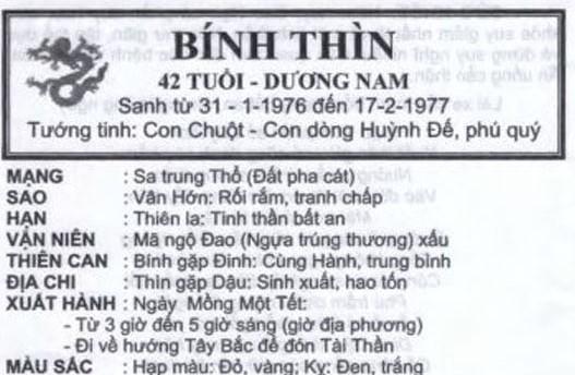 TỬ VI TUỔI BÍNH THÌN 1976 NĂM 2016