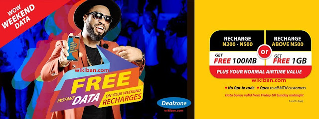Latest MTN Weekend  WOW: Recharge N200 to N500 & Get 100MB, Above N500 & Get 1GB