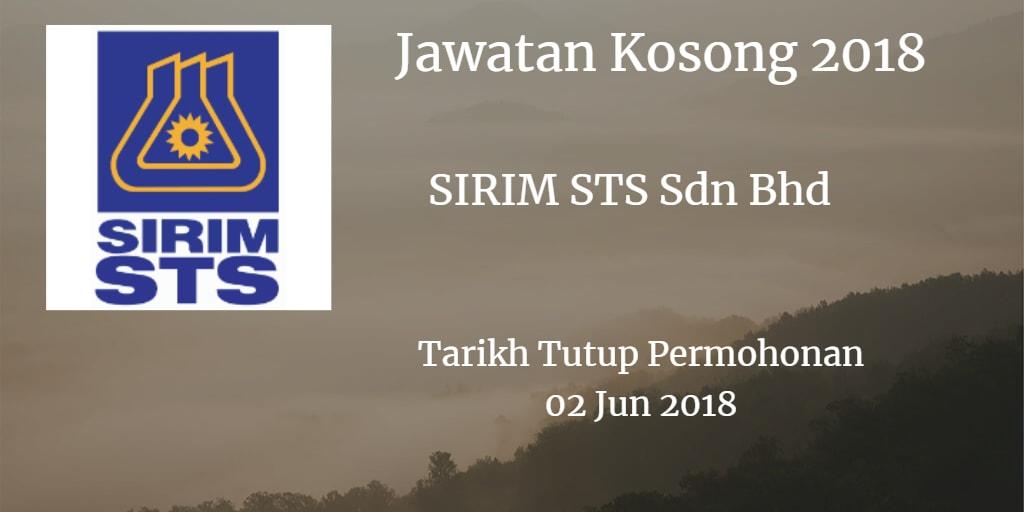 Jawatan Kosong SIRIM STS Sdn Bhd 02 Jun 2018