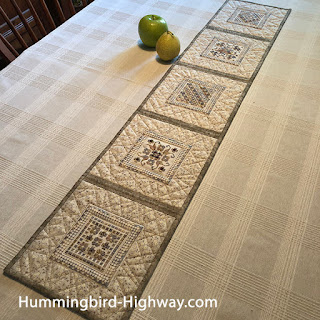Hardanger runner, finished and bound
