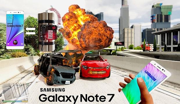 إستخدام هاتف Galaxy Note 7 المنفجر كقنبلة موقوتة في لعبة GTA V
