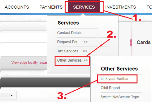 how to link aadhaar card with axis bank account online
