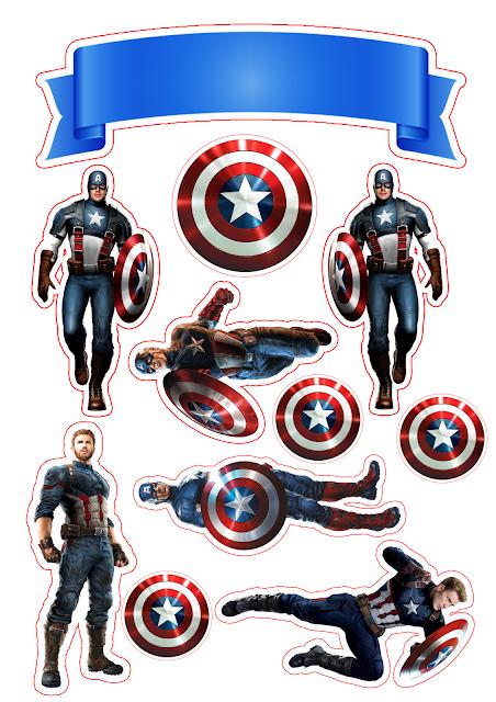 Capitán América: Toppers para Tartas, Tortas, Pasteles, Bizcochos o Cakes para Imprimir Gratis.