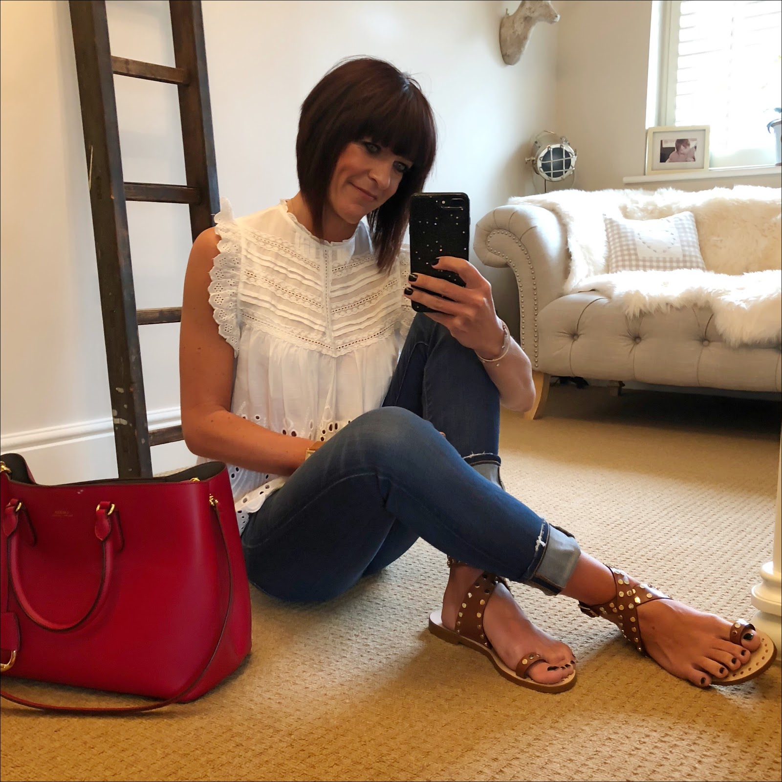 my midlife fashion, zara embroidered blouse with perforations, j crew straight leg jeans, basalt sarah summer studded sandals, lauren ralph lauren dryden tote bag