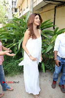 Bollywood Actress Shilpa Shetty Pos in White Gown at The Inauguration Of Shelar Make up Academy  0008.jpg