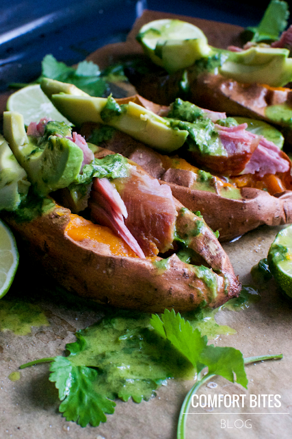 Sweet Potatoes with Smoked Turkey, Avocado and Coriander Cilantro Lime Dressing Paleo AIP