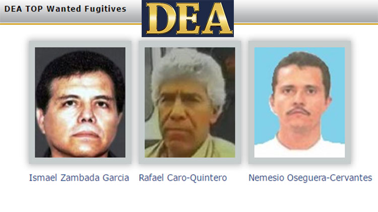 Zambada, Quintero y El Mencho Mexicanos en el TOP de los 3 mas buscados por la DEA