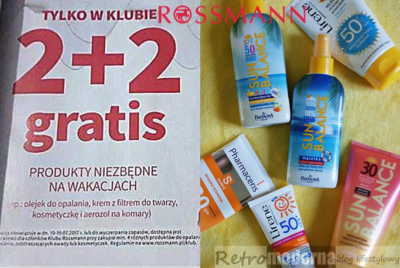 Promocja Rossmann 2+2 produkty do opalania, na komary i kosmetyczki. Produkty niezbędne na wakacjach. Lipiec 2017