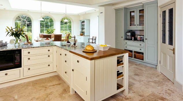 Farrow and Blue Gray painted kitchen on Modern Country Style