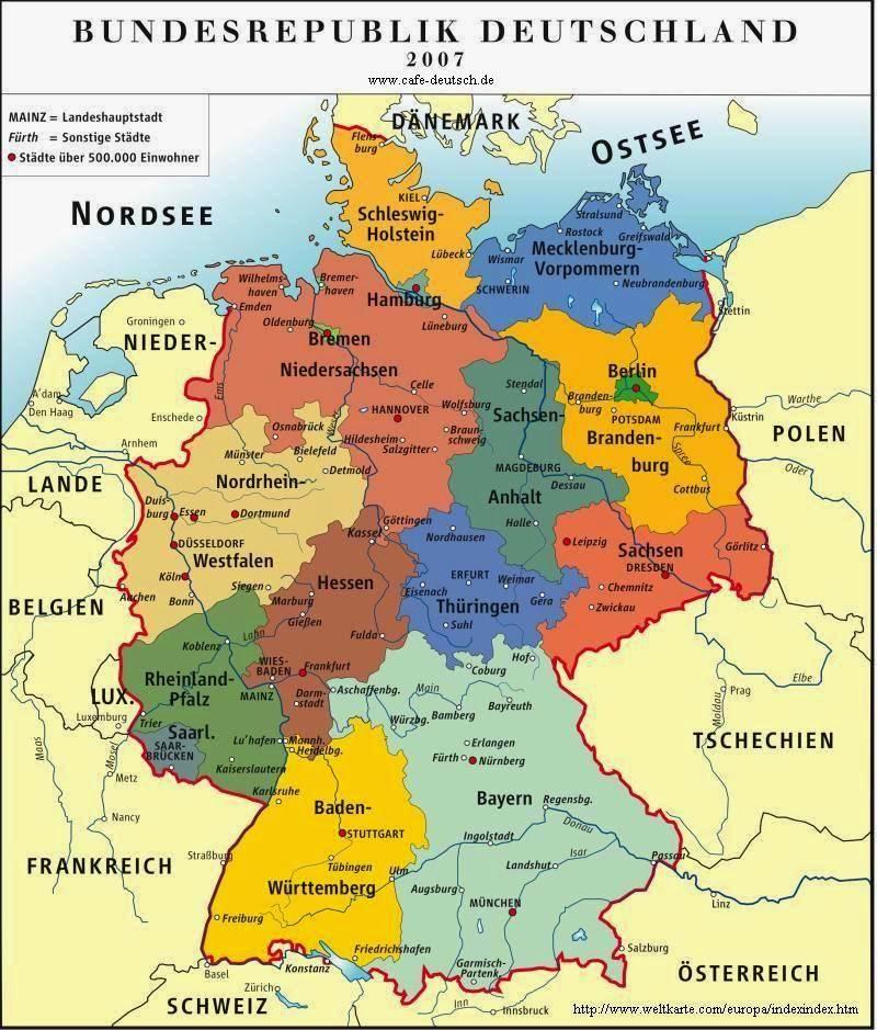 landkarte deutschland und österreich Deutsch mit Frau Virginia D'Alò: Deutschland   Schweiz