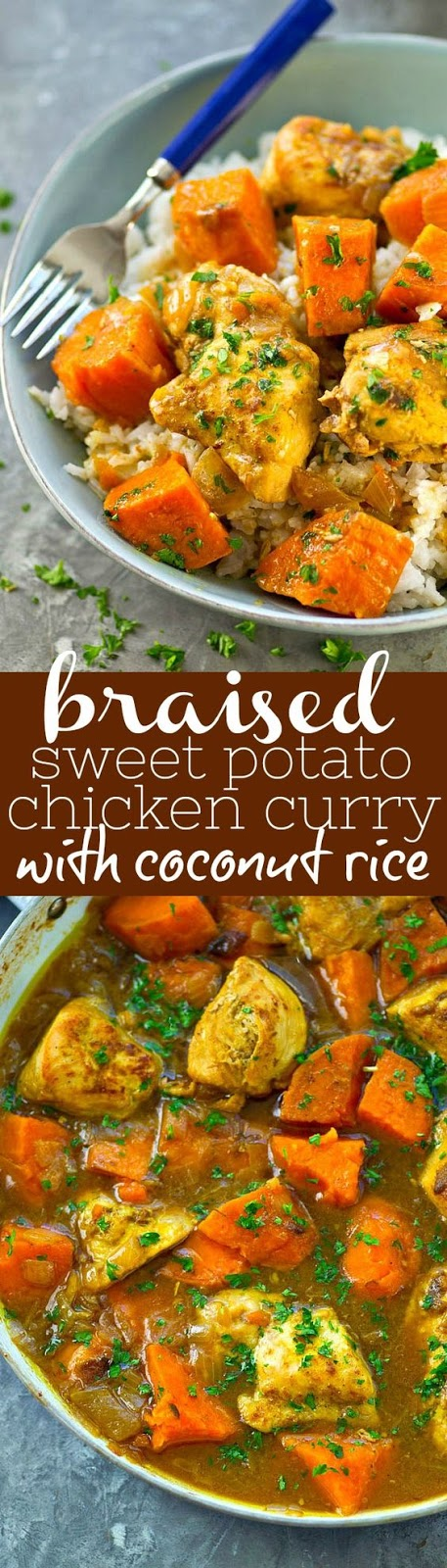 Braised Sweet Potato Chicken Curry with Coconut Rice