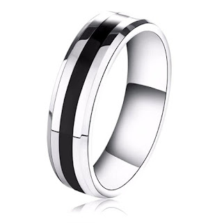 Silver Tone Black Circle 316L Stainless Steel Ring For Men