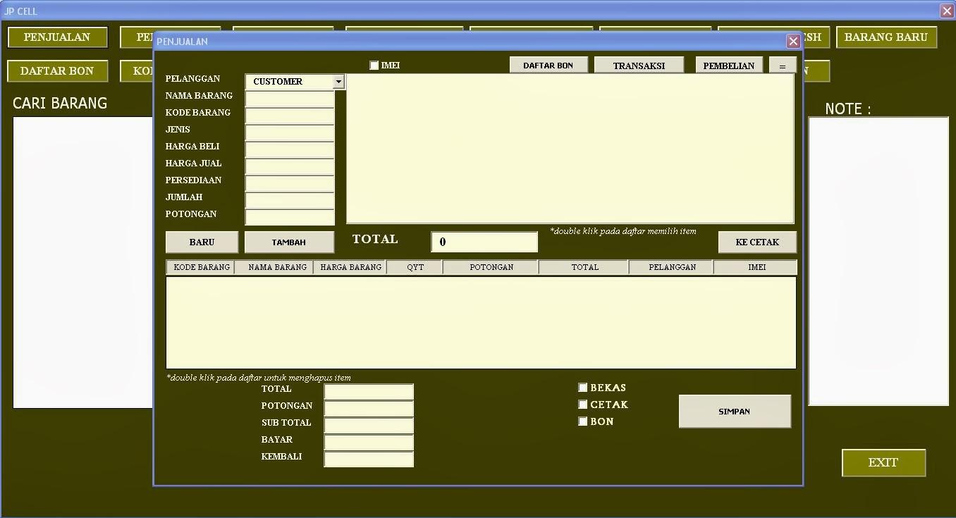 Cara Membuat Program Kasir Konter HP Sederhana Menggunakan ...
