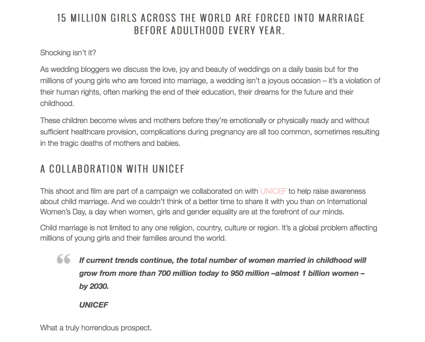 UNICEF #EndChildMarriage campaign from Bridal Musings and STUDIO 1208