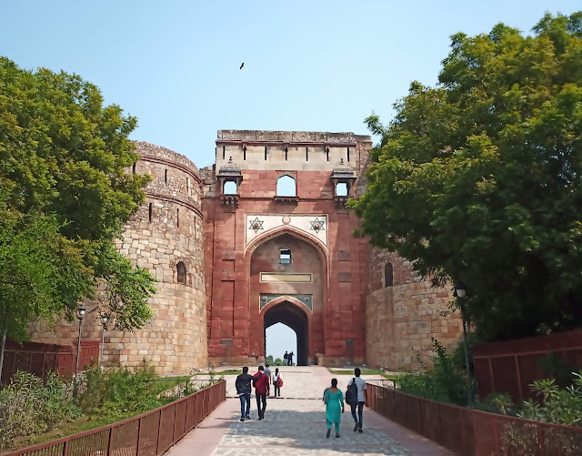 Red sandstone entry gate to Purana Qila, with star motifs incised into facade and ramparts on either side
