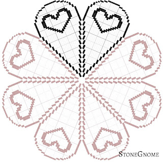 Crochet Filet Heart Table Topper - round