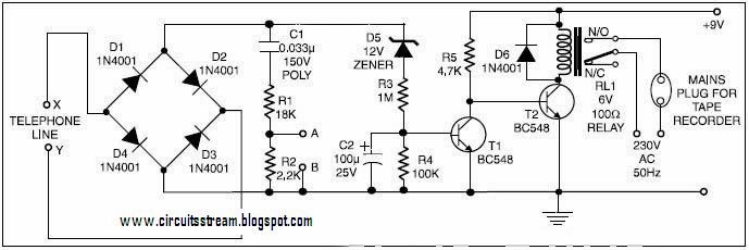 Build A Telephone Conversation Recorder Circuit Diagram