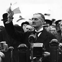 "In 1938, Prime Minister Chamberlain regarded Munich Pact as ""peace in our time""."