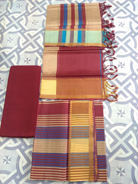 Mangalagiri semi silk dress materials