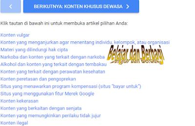 Jenis Konten Google AdSense yang dilarang