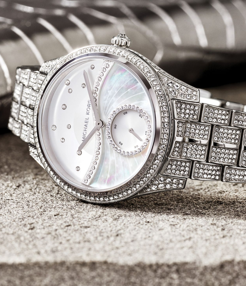MICHAEL KORS Lauryn Celestial Pavé Silver-Tone Watch