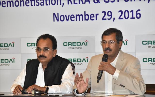 Mr. S Ram Reddy, President, Mr. P Ramakrishna Rao, General Secretary, CREDAI Hyderabad addressing the press meet (2)