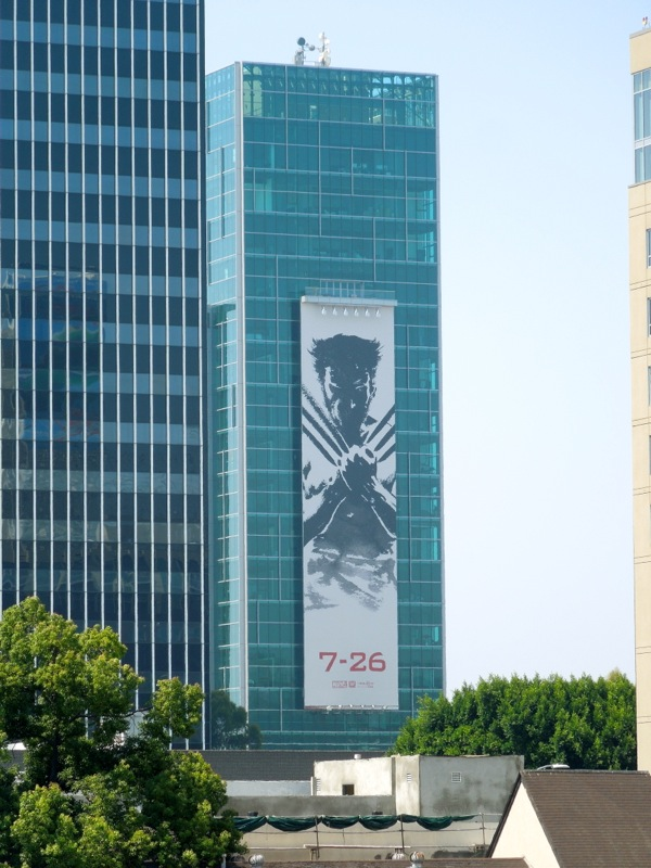 Giant Wolverine movie billboard Hollywood