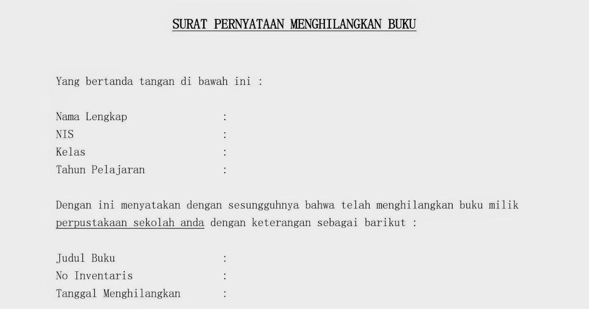 Contoh Surat Pernyataan Menghilangkan Buku Perpustakaan