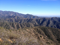 View southeast toward San Dimas Experimental Forest from Summit 3397, Angeles National Forest