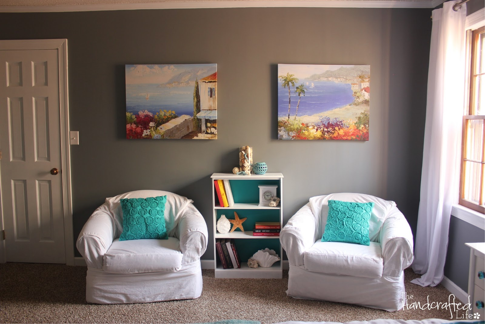 the handcrafted life teal white and grey guest bedroom