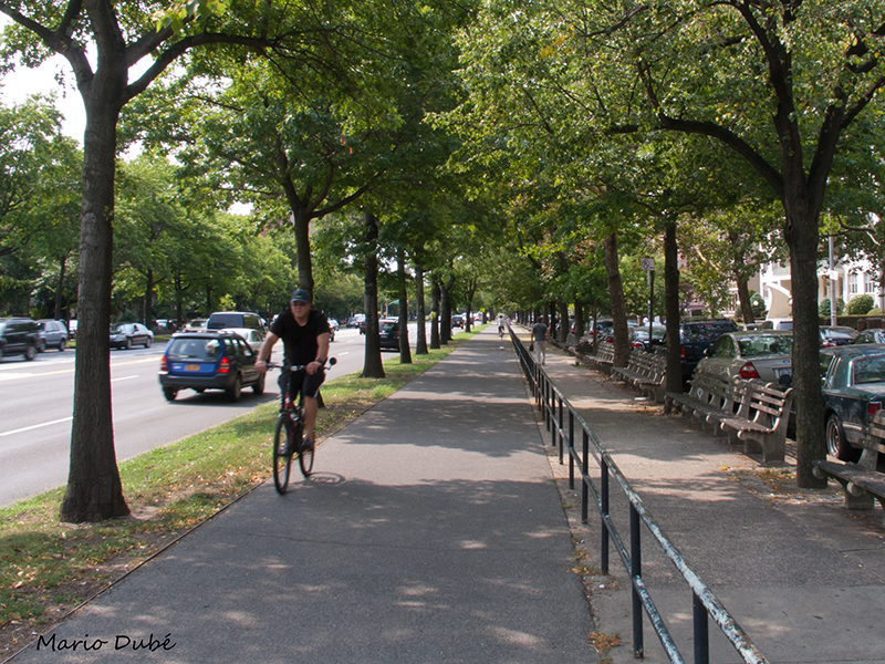 La piste cyclable le long de Ocean Parkway à Brooklyn