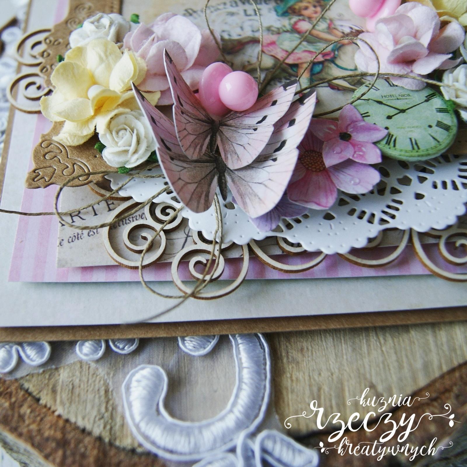 Pastelowa, warstwowa kartka urodzinowa dla dziewczynki.