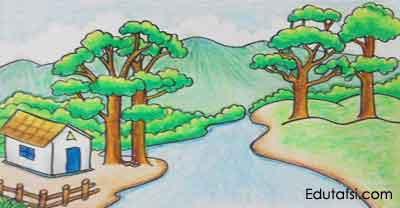 Cara Menggambar Pemandangan Sungai Dan Bukit Untuk Pemula