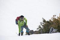 Rishi, debonair on the slope. Shot while climbing up toward Alexandra Peak's summit ridge