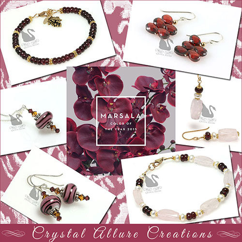 Marsala Pantone's Color of the Year 2015 | Shown in jewelry and accessories by Crystal Allure Creations