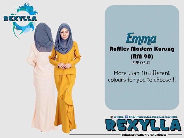 rexylla, baju kurung, kurung, modern kurung, ruffles modern kurung, ruffles kurung