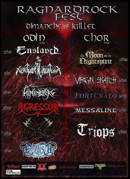 Ragnard Rock Fest 2015 running order @Simandre-sur-Suran 19/07/2015