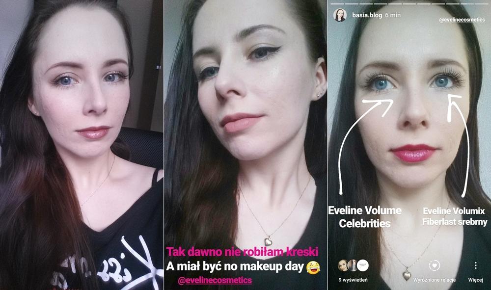 kosmetyki Eveline makijaż, metaliczna pomadka Eveline 800, eyeliner Eveline Celebrities, tusze Eveline Volume Celebrities, Volumix FIberlast