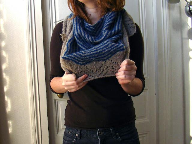 bordure châle Dream stripes en tricot