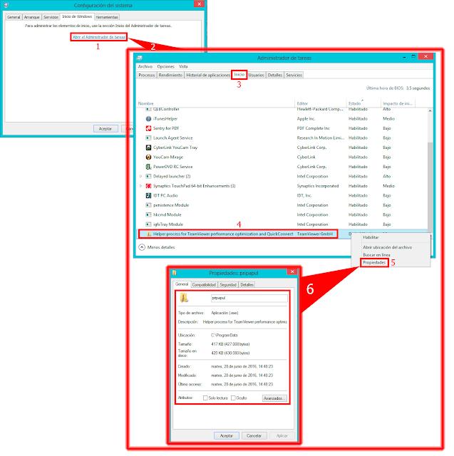 Ejemplo realizado con MSConfig de Microsoft Windows 8, 8.1.