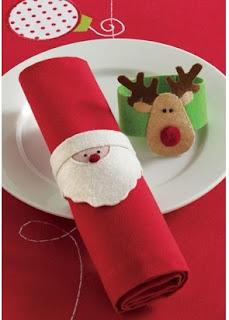 cómo hacer servilletas navideñas manualidades con fieltro