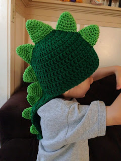 crochet dinosaur hats | Dinosaur Crochet Hat with Long Tail