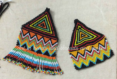 beaded fring, multicolor bead pendants, ethnic boho