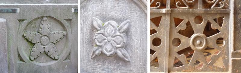 Motifs sur les monuments de Sélestat, fleurs, étoiles...