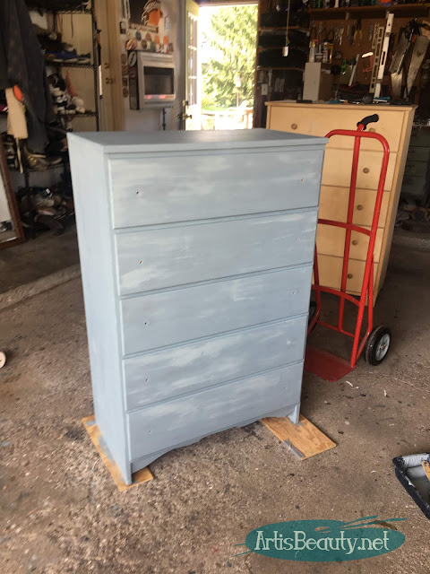 Persian blue general finishes milk paint dresser makeover before vintage color IOD transfer