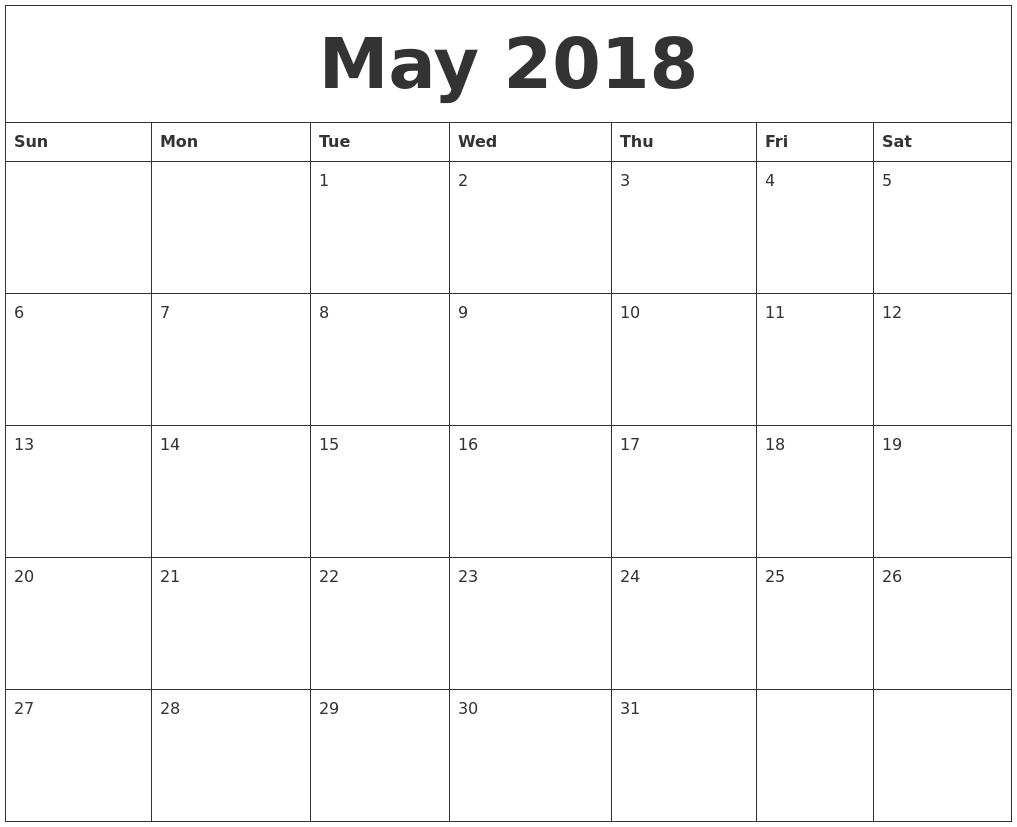 May 2018 printable calendar blank templates get printable may 2018 calendar may 2018 calendar printable may 2018 calendar template may 2018 pronofoot35fo Images
