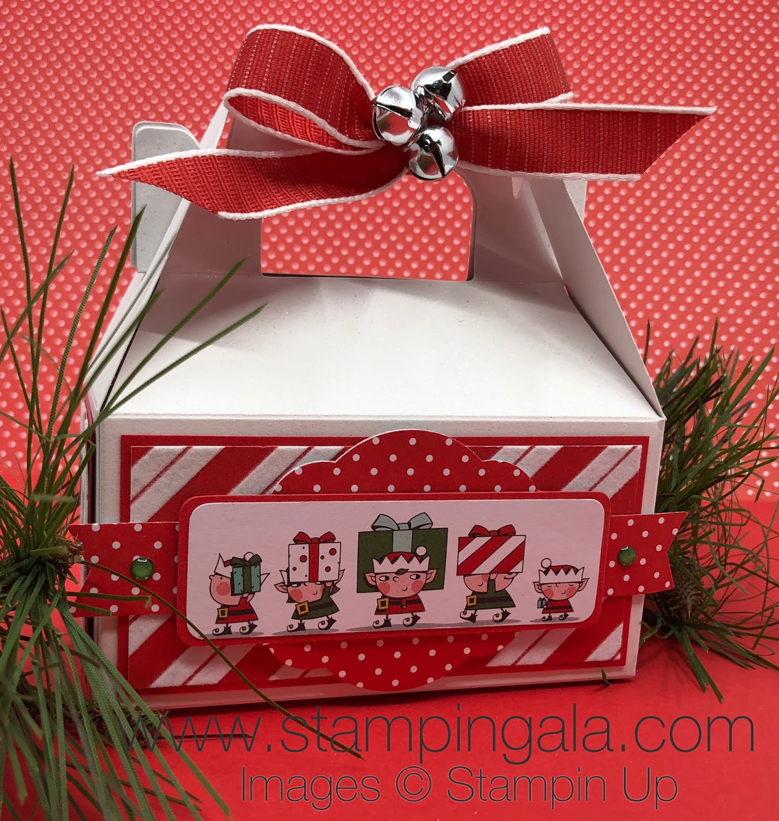 day 9 a gable box with santas elves carrying lots of gifts for christmas this box will fit lots of yummy treats